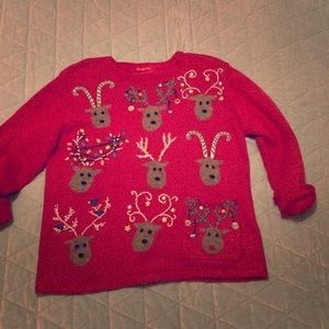 Sweaters - Tacky ugly cute reindeer Christmas sweater